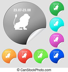 Leo zodiac icon sign. Set of eight multi colored round buttons, stickers. Vector