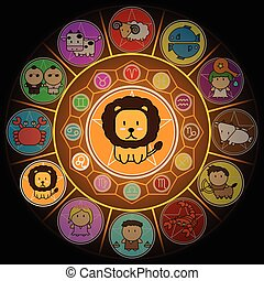 Leo Zodiac in Center Circle of horoscope signs Cartoon icon vector on black background