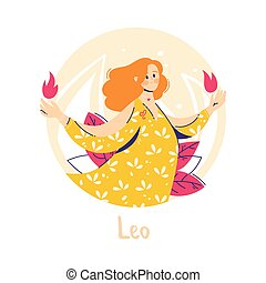 Leo zodiac sign. Fire. Female character and element of ancient astrology.