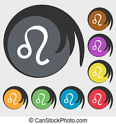 Leo zodiac sign icon. Symbols on eight colored buttons. Vector
