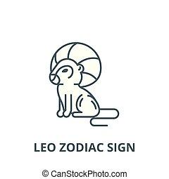 Leo zodiac sign vector line icon, linear concept, outline sign, symbol