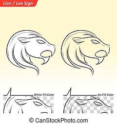 Leo Zodiac Star Sign Sketch - Vector Illustration of Leo...
