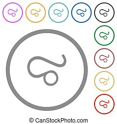 Leo zodiac symbol flat icons with outlines