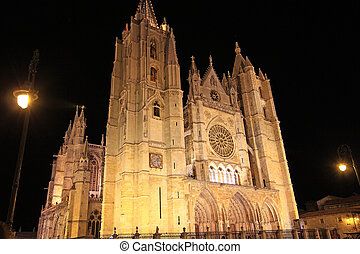 Leon Cathedral at night, in Leon Spain
