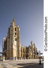 Leon Cathedral. Gothic style. Road of Santiago de Compostela.