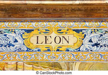 ceramic decoration on mosaic wall, Spain. Leon theme.