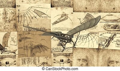 Leonardo Antique Flying Machine - Leonardo Da Vinci Antique...