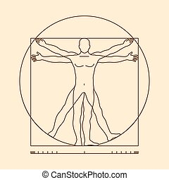 Leonardo da vinci vitruvian man vector illustration -...