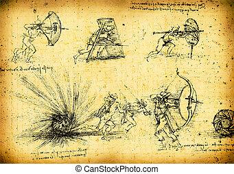 Leonardo's Da Vinci engineering drawing from 1503 on...