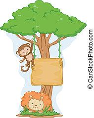 leone, appendere, asse, scimmia