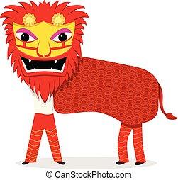 leone, ballo, isolato, bianco, in, vettore, cartone animato