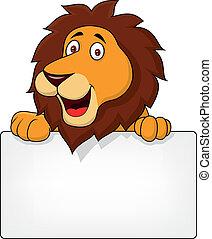 leone, cartone animato, con, segno bianco