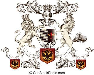 leone, cavallo, araldico, disegno
