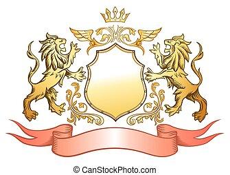 leone, dorato, insegne, scudo