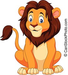 leone, felice, cartone animato, seduta