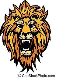 leone, grafico, testa, mascotte