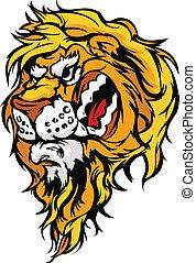 leone, illustrati, testa, cartone animato, mascotte