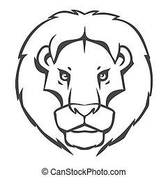 leone, logo-emblem, disegno, isolato, bianco, fondo