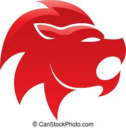 leone, lucido, rosso