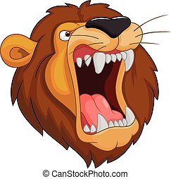 leone, mascotte, testa, cartone animato
