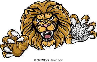 leone, palla golf, sport, mascotte
