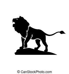 leone, silhouette, ruggito