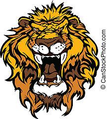leone, testa, cartone animato, mascotte, illustrati