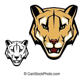 leone, testa, coguaro, montagna, o, mascotte, puma, animale