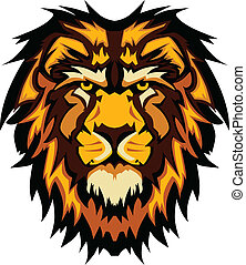 leone, testa, grafico, mascotte, vettore, ima