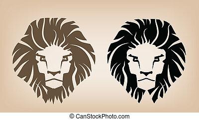 leone, testa, icone