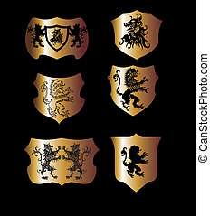 leone, vettore, arte, scudo, squadra