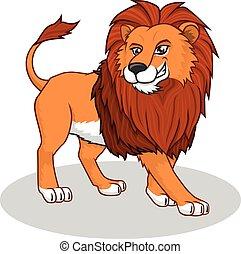 leone, vettore, cartone animato, illustrazione