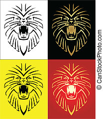 leone, vettore, illustrazione, mascotte