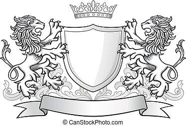 leones, emblema, protector, tenencia