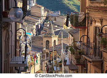 Leonforte, Sicily - View of Leonforte, baroque town in...