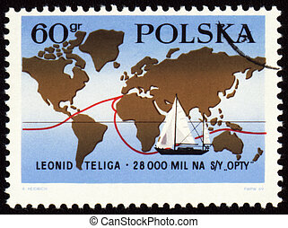 leonid, selo, excursão, mundo, polaco, poste, yachtsman, ...