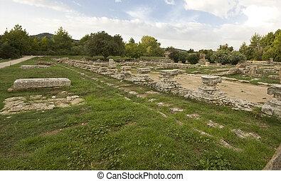 leonidaion, ancien, localisé, olympie, construction, grèce
