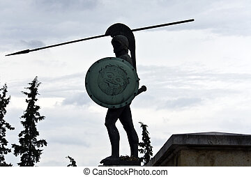 Leonidas statue at the Thermopyles monument in Greece
