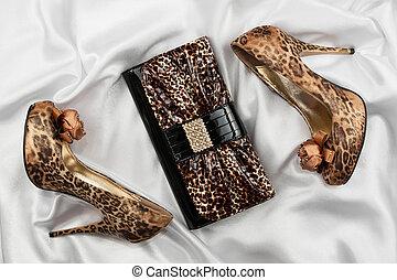 leopárd, fehér, lakk, cipők, táska