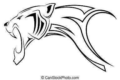 leopárd, vektor, törzsi, tetovál