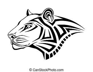 leopar, tatuaggio, tribale