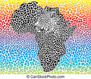 Leopard Africa rainbow background - vector illustration...