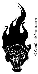 Leopard and flame, tribal tattoo vector illustration