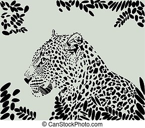 Leopard and leaves pattern background