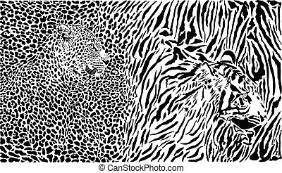 Leopard and tiger and pattern background