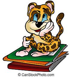 Leopard And Workbooks - Colored Cartoon Illustration, Vector