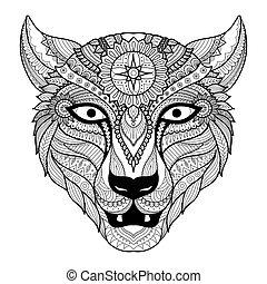 Leopard coloring - Leopard line art design for coloring book...
