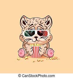 Leopard cub watching a movie