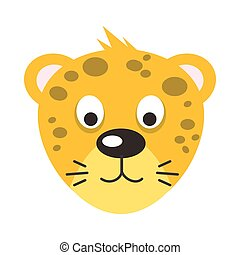 Leopard Face Vector Illustration in Flat Design - Leopard...