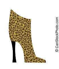 Chic ankle boot in leopard print isolated on white